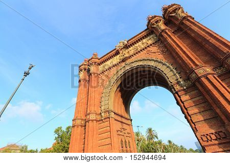 Low angle view on Arc de Triomf, Barcelona, Spain