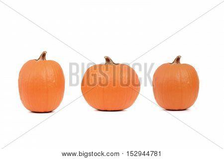 three orange pumpkins isolated on white background
