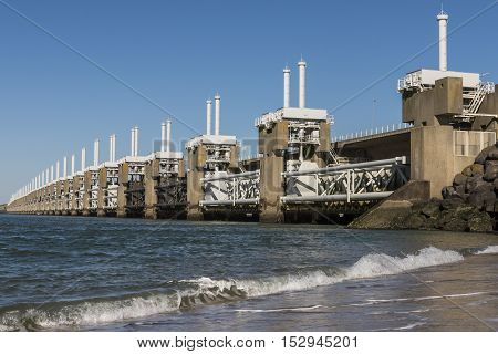 Neeltje Jans The Netherlands - October 5 2016: Oosterscheldekering dike with sluices at Neeltje Zeeland The Netherlands.