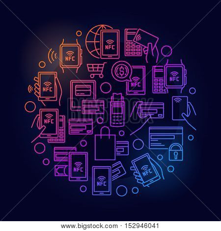 NFC payment colorful illustration. Vector outline smartphone and smart watch payment symbol. NFC payments using POS terminal on dark  background