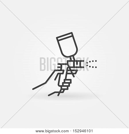 Spray gun in hand icon. Vector simple airbrush or spray gun for auto painting symbol in outline style