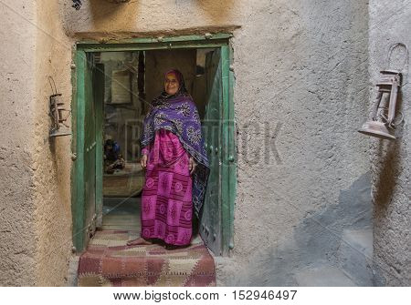 Nizwa Oman October 13th 2016: omani lady in a traditional omani house