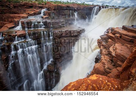 A closeup up of the top drop of the Eastern falls flood at the King George River in the Northern Kimberley of Western Australia