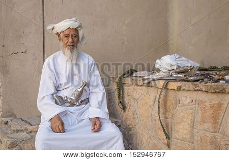 Nizwa Oman October 13th 2016: omani man at the gun market