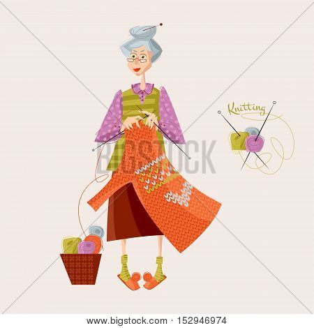Knitting. Old woman knits a sweater. Balls of wool in a basket. Vector illustration.