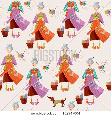 Knitting. Old woman knits a sweater. Seamless background pattern. Vector illustration