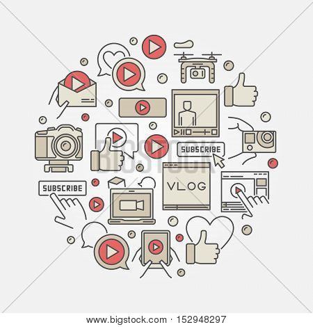 Vlogging round illustration. Vector round video colorful blogging concept symbol