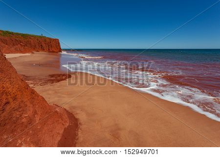 Red Pindan Cliff adjoining a turquoise sea at James Price Point, North of Broome in Western Australia
