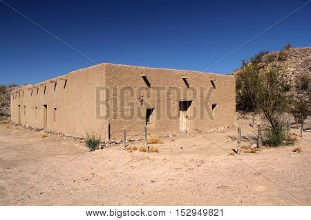 Historic Southwestern Architecture in Costolon, Big Bend National Park, Texas