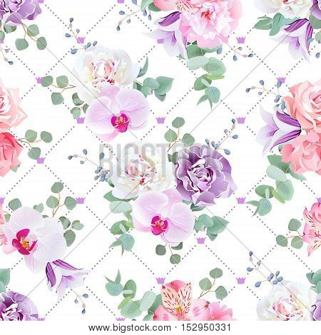 Wedding delicate seamless vector print in purple pink and white tones. Peony alstroemeria lily violet carnation rose campanula orchid eucaliptus. Simple backdrop with diagonal lines and crowns