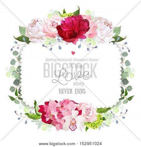 Square floral vector frame with peony rose carnation orchid hydrangea and eucaliptus. White burgundy red and pink flowers. Invitation card.