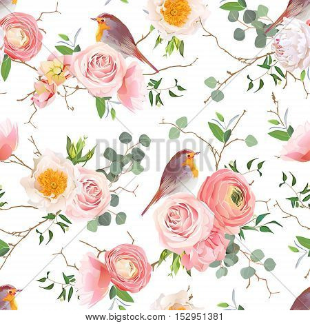 Natural vector seamless pattern with cute robin birds and bouquets of peachy roses and ranunculus in japanese style