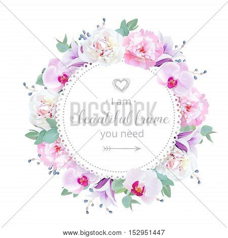 Beautiful wedding floral vector design frame. Pink and white peony purple orchid violet campanula flowers. Colorful botany objects. All elements are isolated and editable.