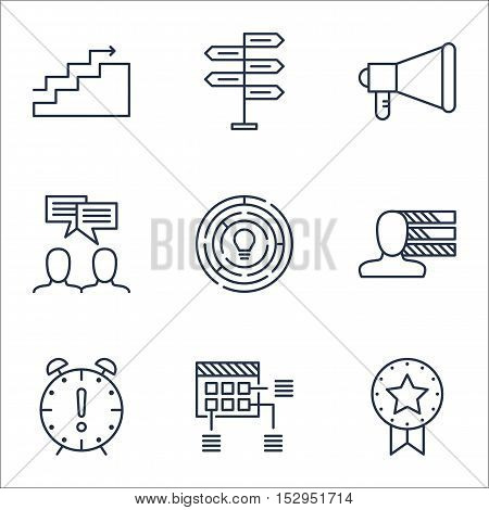 Set Of Project Management Icons On Time Management, Schedule And Personal Skills Topics. Editable Ve
