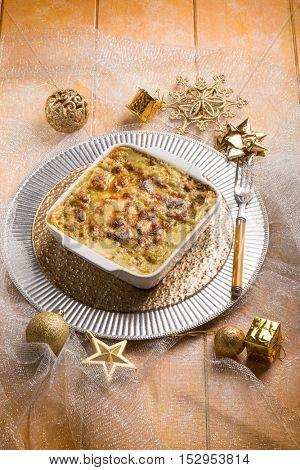 lasagne over christmas table