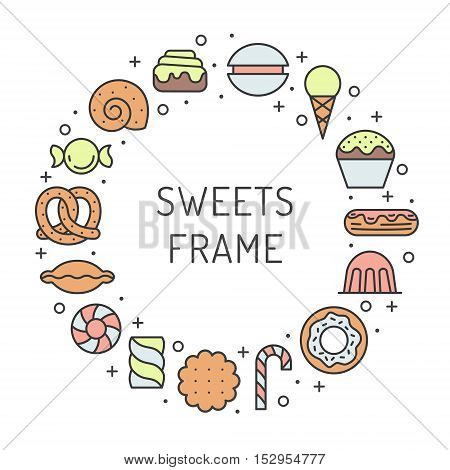 Sweets outline multicolored circle frame. Clean and simpe design (part two).