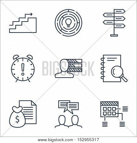 Set Of Project Management Icons On Personal Skills, Schedule And Report Topics. Editable Vector Illu