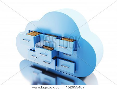 3d renderer image. File storage in cloud. Cloud computing concept. Isolated white background.