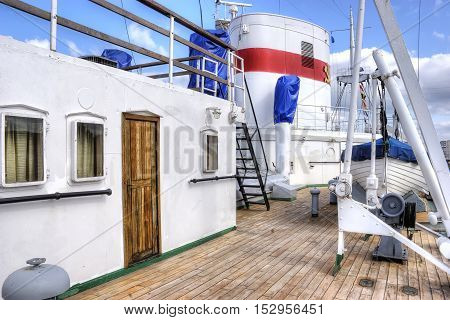 Empty deck of passenger a marine ship