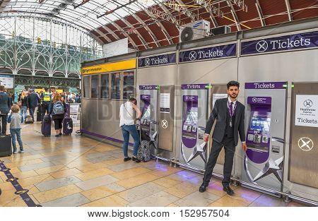 London,the UK-May 2016: ticket machines at Paddington railway station