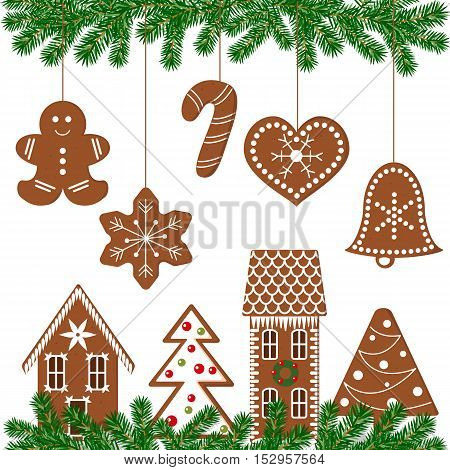 Set of gingerbread christmas cookies. Funny decorated gingerbread figures. Xmas tree, snowflakes, cane, heart, star, bell, house, mittens green garland. Vector design elements for postcards decoration