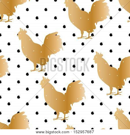 Seamless polka dot pattern with golden silhouette roster for new year. Vector background.