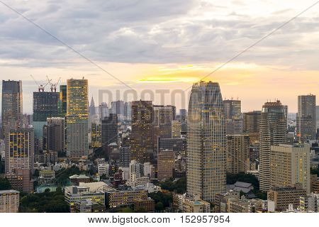 sunset Cityscape of Tokyo City Japan - Tokyo is the world's most populous metropolis and is described as one of the three command centers for world economy