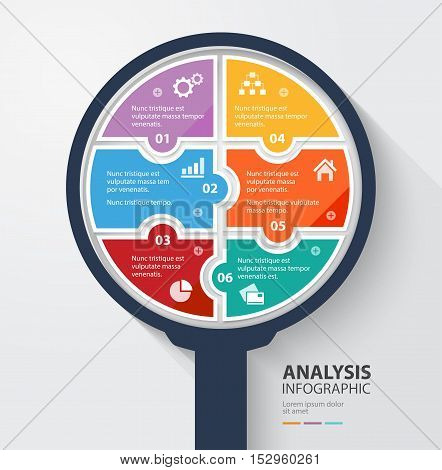 Business data analysis infographic 6 colorful pieces. Vector illustration.