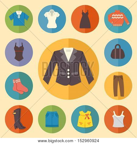 Vintage clothes Icons Flat style. Vector illustration.