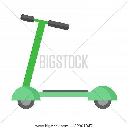 Push kick scooter fun activity transportation vehicle sport ride toy vector illustration. Kick scooter toy and kick scooter silhouette.
