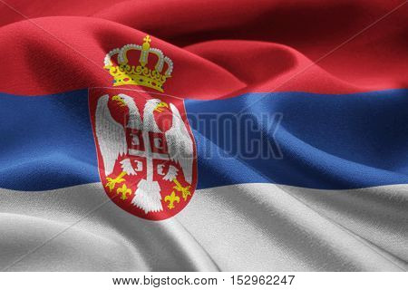 Close up of Serbia flag blowing in the wind