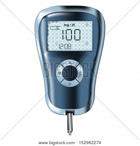 blood glucose meter glucometer diabetes blood glucose test isolated vector