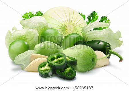 Tomatillos jalapenos garlic and onion with coriander. Ingredients for Mexican salsa verde sauce. Clipping paths shadows separated poster