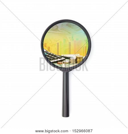 Magnifying glass with money banknotes concept of business planning and finance and savings