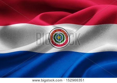 Image of Paraguay flag blowing in the wind