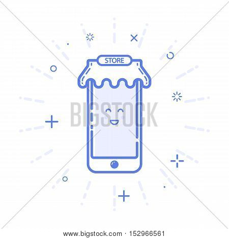 Vector illustration of icon mobile phone, store concept with awning in line style. Linear blue gift or bounty. Design for internet, promotion banner, web page and mobile app. Outline object e-commerce.