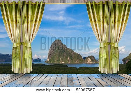 nature landscape with view through window with beautiful green curtains and wood floor interior