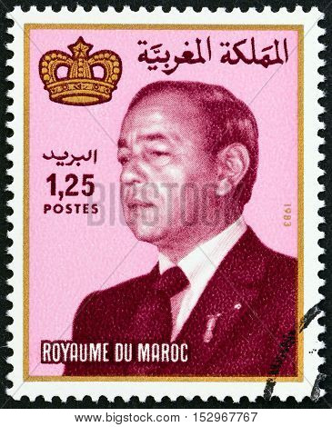 MOROCCO - CIRCA 1984: A stamp printed in Morocco shows King Hassan II, circa 1984.