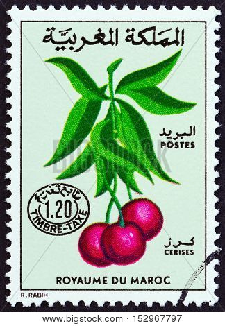 MOROCCO - CIRCA 1984: A stamp printed in Morocco shows cherries, circa 1984.