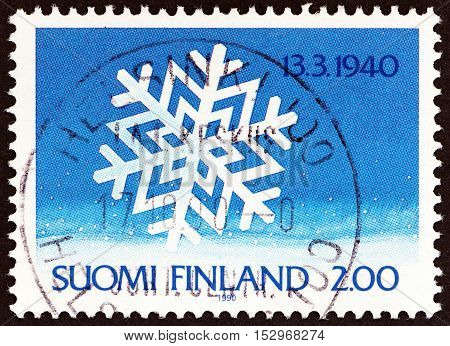 FINLAND - CIRCA 1990: A stamp printed in Finland from issued for the 50th anniversary of End of Russo-Finnish Winter War shows snowflake, circa 1990.