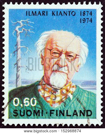 FINLAND - CIRCA 1974: A stamp printed in Finland issued for the 100th anniversary of the birth of Ilimari Kianto shows writer Ilimari Kianto, circa 1974.