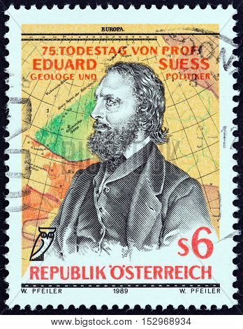 AUSTRIA - CIRCA 1989: A stamp printed in Austria issued for the 75th death anniversary of Eduard Suess geologist and politician shows Suess after Josef Kriehuber and Map, circa 1989.