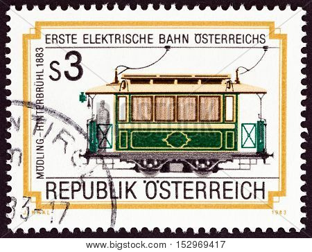 AUSTRIA - CIRCA 1983: A stamp printed in Austria issued for the centenary of Modling Hinterbruhl Electric Railway shows Tram No. 5, 1883, circa 1983.