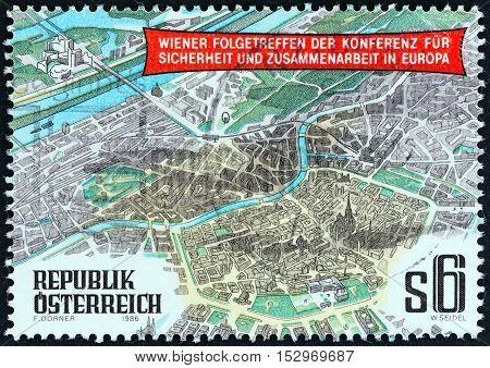 AUSTRIA - CIRCA 1986: A stamp printed in Austria shows aerial view of Vienna, circa 1986.