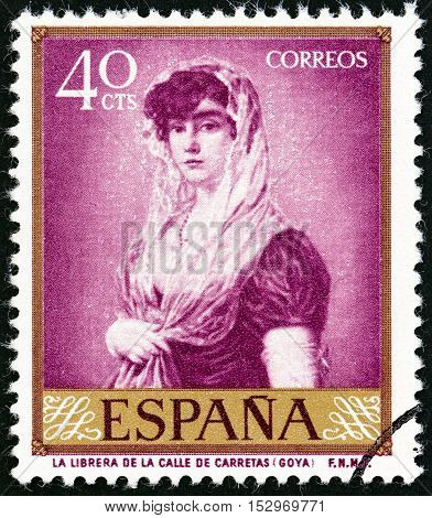 SPAIN - CIRCA 1958: A stamp printed in Spain shows The Bookseller's Wife (Francisco Goya), circa 1958.