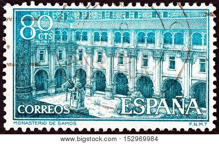 SPAIN - CIRCA 1960: A stamp printed in Spain shows Samos Monastery, circa 1960.