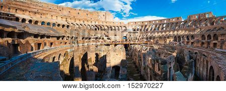ROME ITALY - September 12 2016: Panorama of inside part of Colosseum in Rome Italy