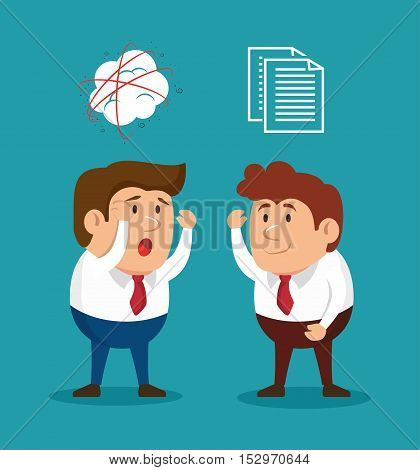 businessmen fury illness mental solving vector illusration eps 10