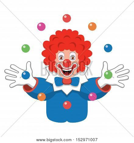 vector icon of juggling clown isolated on white