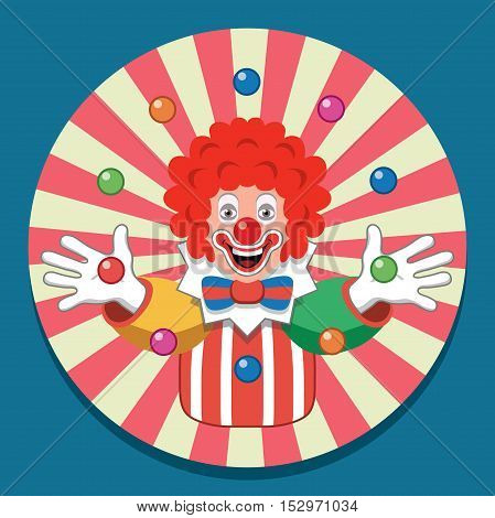 vector background with funny juggling circus clown